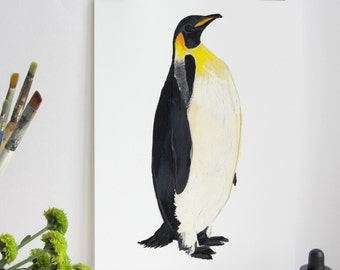 Penguin Art Print, Illustration Penguin Print, Penguins Art Print, Nature Print, Wall Print, Wildlife, Nature Print, Emperor Penguin Print