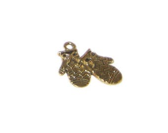 16mm Gold Winter Mittens Metal Charm - 3 Charms