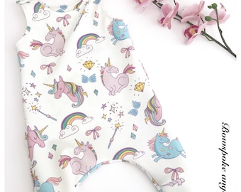 Unicorn romper - toddler romper - baby romper - harem romper - unicorn clothing - unicorn party - romper girls - baby girl romper - newborn
