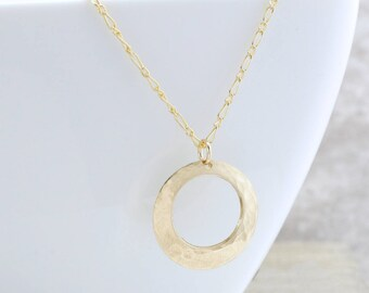 Karma Circle Necklace - Hammered Circle Necklace - Gold Open Circle Necklace - Layering Necklace - Gift For Her - Christmas Gift