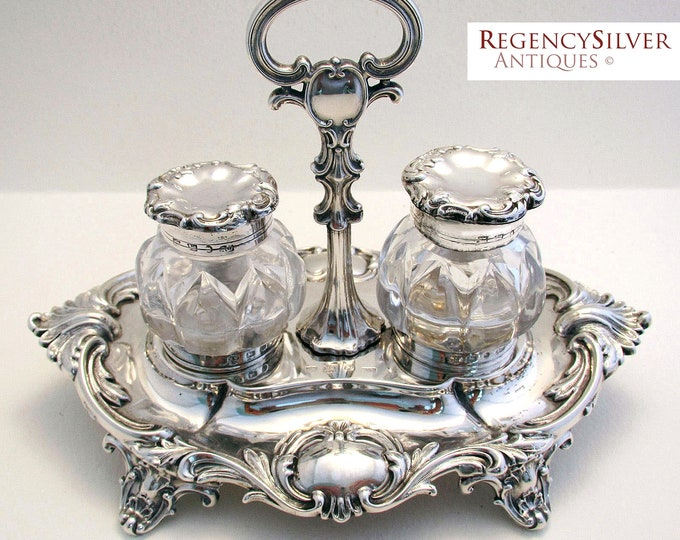 Featured listing image: Rare Ladies Version 19th-Century (1844) Antique Solid Sterling Silver Sheffield hallmarked Double inkwell inkstand. Early Victorian.