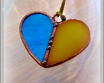 Heart shaped stained glass necklace pendant from Ukraine