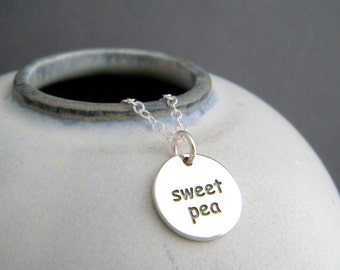 sterling silver sweet pea necklace. small endearment jewelry. pet name romantic affection simple word pendant nickname charm gift for her