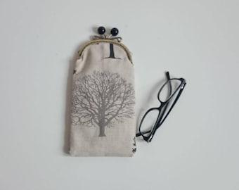 Linen Phone/Glasses Case in Tree Design