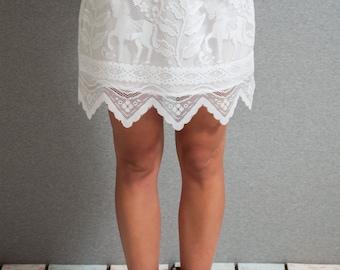 Lace mini skirt, lace a line skirt, white lace skirt, mini skirt, horses skirt