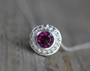Pink Rhodolite Garnet Slide Necklace in Sterling Silver