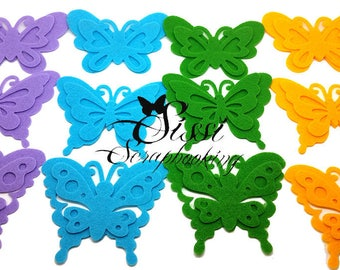 SET of 3 large Butterfly felt 10 X 7 cm choice of color
