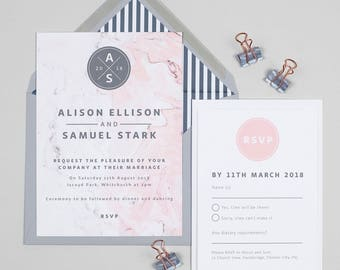 Grey and pink Marble monogram wedding invitations