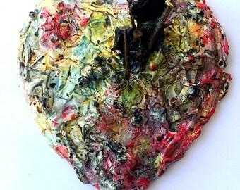 handmade original wood and plaster Heart, painted wall sculpture, multi-colored, Jackson Pollock