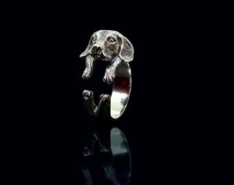 Sterling Silver Beagle Ring, Cute Beagle Jewelry, Adjustable Beagle Ring, Silver Dog Ring, Animal Wrap Ring, Ring Silver Beagle, Ring Beagle