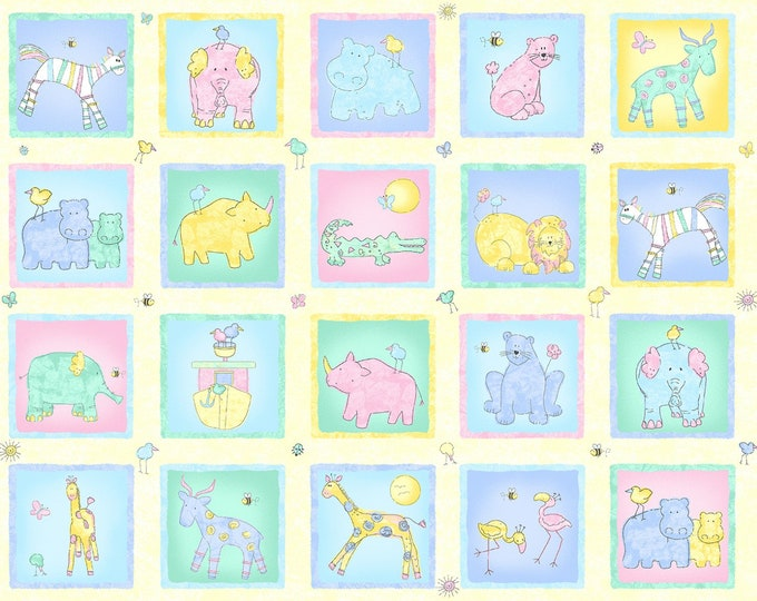 CHILDRENS COTTON FABRIC, Two By Two Baby Blocks Panel by Cheri Strole 23 x 44 inches wide