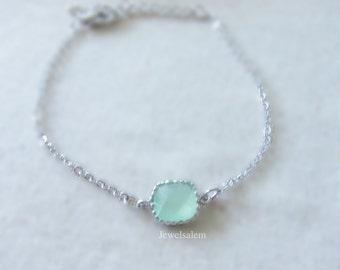 Mint Green Bracelet, Silver Bracelet, Delicate Bracelet, Dainty Bracelet, Light Green Bracelet, Bridesmaid Bracelet, Stone Bracelet Gift C1