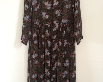 Vintage 90s sheer smock dress with floral daisie print