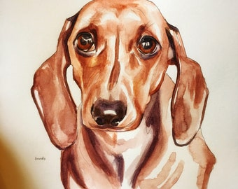 Original watercolor pet portrait, 8x10 inches, from your photo