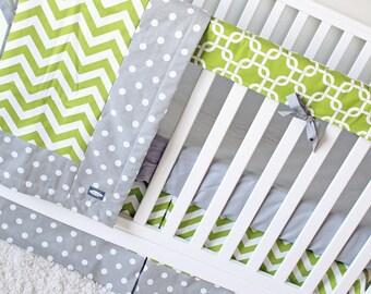 Crib Bedding Set, Geometric Chevron Baby Bedding, Baby Nursery, Teething Rail Guard, Gray Crib Sheet, Lime Green Crib Skirt, Baby Blanket