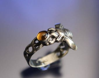 Honey Bee Ring Sterling Silver Honey Citrine Stone