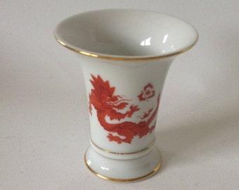 Vase, Red Dragon, Meissen, 1st choice, gold