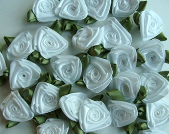 Satin Ribbon Roses - White with Moss Green Leaves