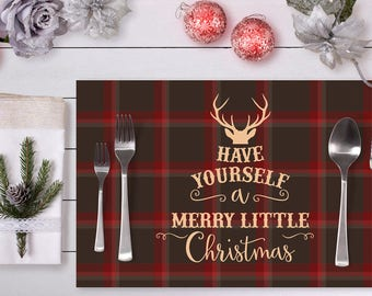 Xmas placemat etsy set of 25 tear away placemats have yourself a merry little christmas place setting for solutioingenieria Choice Image