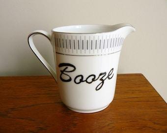 Booze hand painted vintage porcelain creamer /milk jug/ sauce jug recycled boozy humor