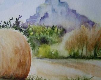 Signed watercolor painting original painting in 17x24cm Le Mont Saint Michel