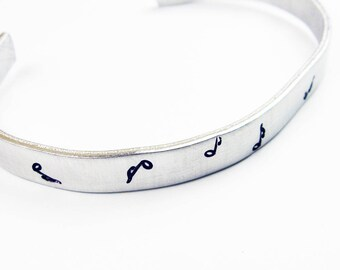Music Bracelet - Simple Modern Adjustable Cuff with Music Notes for Musician, Songwriter, Musical Theatre Lover or Music Teacher