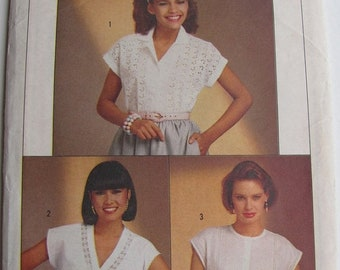 ON SALE 1980's Sewing Pattern - Simplicity 6803 Easy sew set of blouses Size 10 - 14 Uncut and factory folded