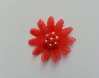 double fleur  voile  rouge 30mm