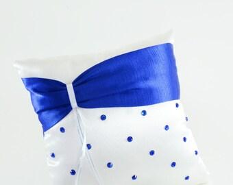 "Royal Blue Ring Bearer Pillow, Royal Blue Weddings, Royal Blue and White - ""Royal Ties"""