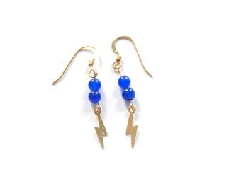 Blue Jade Lightning Bolt Earrings on 14K Gold, Electric Blue Lightening Bolt Dangling Earrings, Boho Earrings by 11th Street Shop