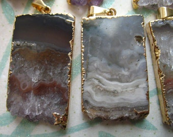 1-10 pc, Amethyst STALACTITE Slice Slab Pendant Charm, 24k Gold Electroplated, ap41.6tl