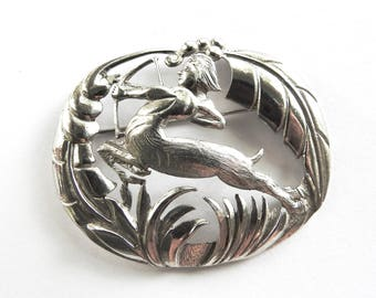 1960s/70s Heavy Sterling The Archer Modernist Sagitarious Brooch