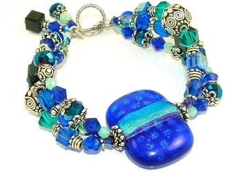 "MAJOR MARKDOWN - Vibrant ""Ocean Hues"" Triple Stranded Beaded Dichroic Fused Glass Statement Bracelet-OOAK"