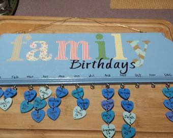 Family Birthdays, Anniversaries, or Celebrations plaque