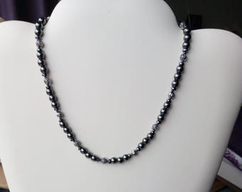 """Hematite necklace, 6mm beads, with antique silver tone rose beads 16""""-20"""" Hand made"""