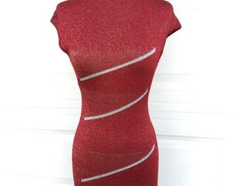 1970s 1980s bobycon marron rayures argentées en tricot stretch wigglecoktail robe de soirée taille XS S