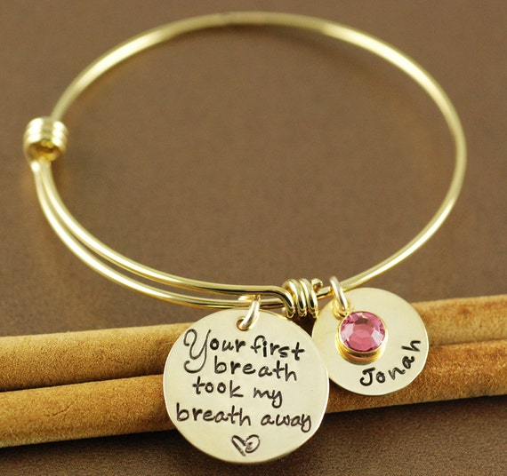 Personalized Hand Stamped Bangle Bracelet, Gold Bangle Bracelet, Your first breath, Gold Bangle Charm Bracelet,