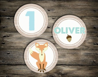 Woodland Fox birthday cupcake toppers- you print