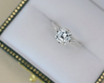 1.10 Ct. Asscher Cut Vintage Inspired Diamond Engagement Ring on 14K White Gold