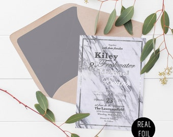 Real Foil Gray Marble Wedding Invitation Deposit