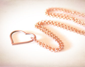 Floating Heart Eyeglass Necklace. Rose Gold & Copper