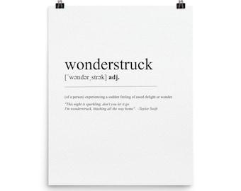 Wonderstruck Definition and Lyrics / Poster Print / Taylor Swift / Dictionary Print Wall Art