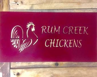 Custom Metal Rooster Sign