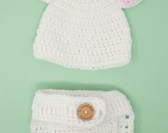 Baby bunny hat and diaper cover, 0-3 months, crocheted