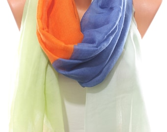 Orange Aqua Blue Green Spring Summer Scarf Beach Wrap Coverup Pareo Women's Fashion Accessories Holidays Easter Gift Ideas For Her