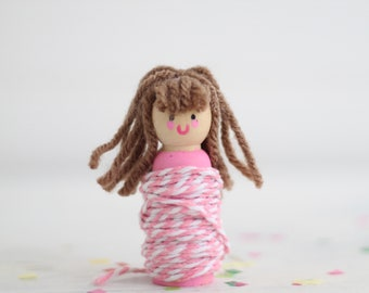 Twine Doll For Gift Tags RANDOM, Twine Pink, Wooden Peg Doll, Twine Baker's Twine Cotton Twine Pink, Pink Little Doll