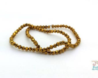 100 gold electroplate abacus 2x2.5mm (pv715) faceted glass beads
