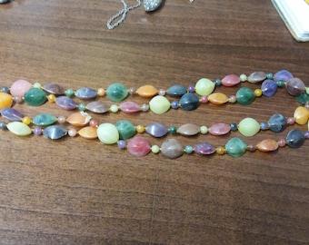 Vintage Italian Necklace - Colourful Summer Spring Hippy Plastic Boho Necklace