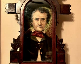 Edgar Allan Poe Oil Painting in an Illuminated Gothic Victorian Shadowbox