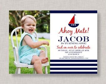 Nautical Invitation, Nautical Birthday Invitation, Nautical Birthday Party